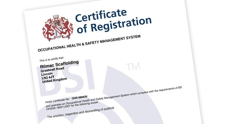 Rilmac Scaffolding successfully attain OHSAS 18001 Certification ...